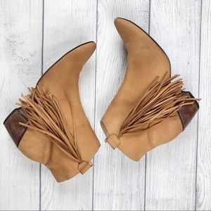 Matisse Shields Leather Fringe Tan Ankle Bootie 9